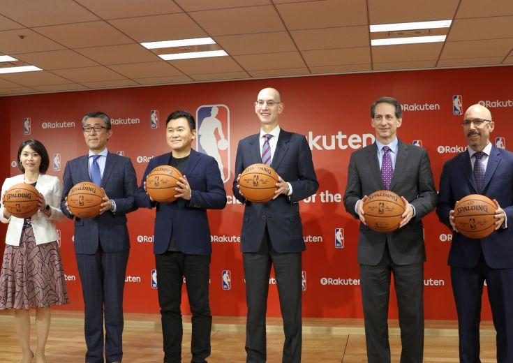 楽天とNBAがパートナーシップ契約発表会見を実施、NBAコミッショナーは日本でのゲーム開催に「おそらく東京で」と言及