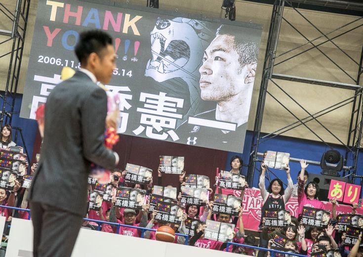 「真剣勝負で」を強調した高橋憲一の引退試合、秋田ノーザンハピネッツと仙台89ERSのファンに最後のプレーを披露